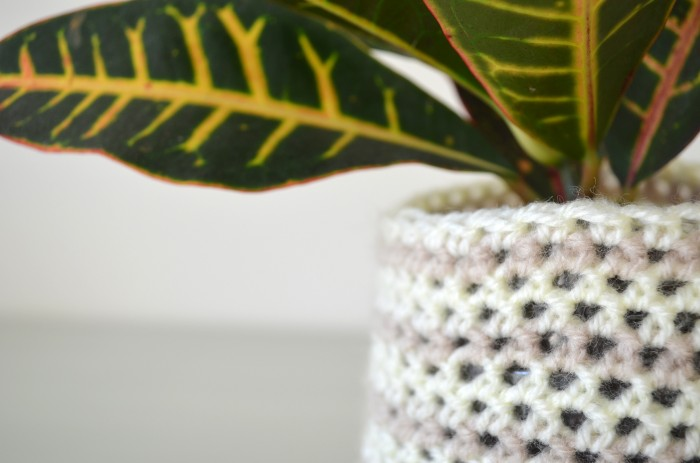 Striped crochet planter