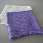 Purple Knitted and White Crochet Square