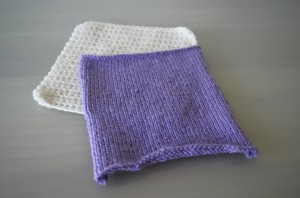 Violet Knitted and White Crochet Square