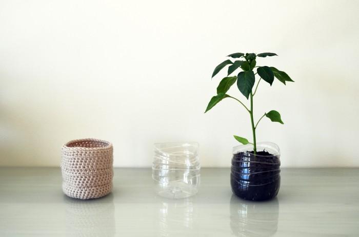 Beige Upcycled Crochet Plastic Bottle Planter