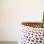 Beige Crochet Planter Cosy