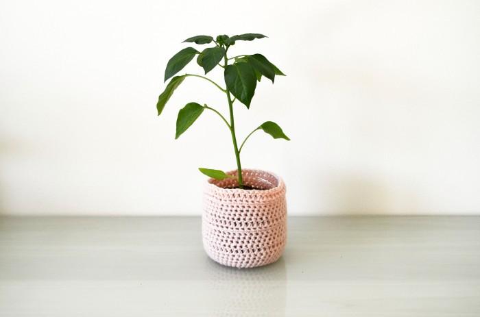 Pink Upcycled Crochet Plastic Bottle Planter