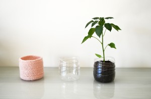 Pink Upcycled Crochet Plastic Bottle Planter