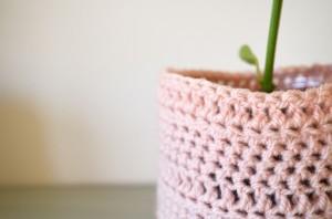 Pink Crochet Planter Cosy