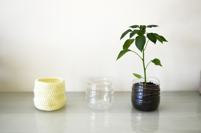Yellow Upcycled Crochet Plastic Bottle Planter