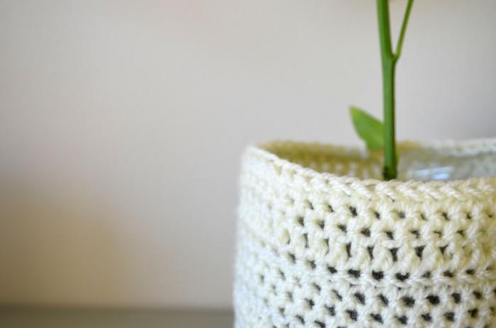 Yellow Crochet Planter Cosy