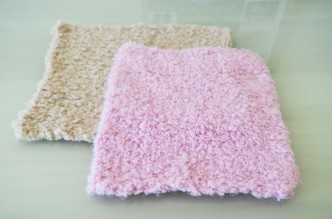 Pink and Beige Knitted Squares