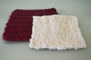 White Knitted and Maroon Crochet Square