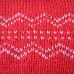 Red Embroidered Knitted Square
