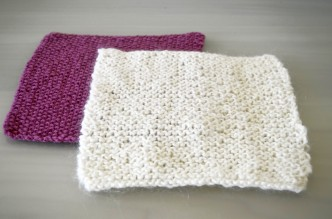 Pink and White Knitted Squares