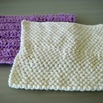 White Knitted and Violet Crocheted Square