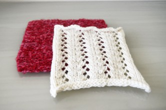 Red and White Knitted Squares