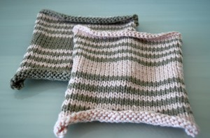 Green and Pink Striped Knitted Squares