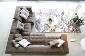Floral Print Rug with L-Shape Sofa