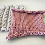 Pink and Grey Knitted Square