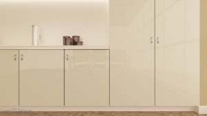 High Gloss Frosted Almond Cabinets