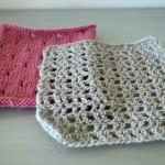 Pink Knitted and Grey Crocheted Square