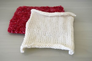 Red and White Knitted Square