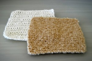 Brown Knitted and White Crocheted Square