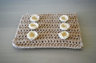 Brown Crochet Square With Crochet Buttons