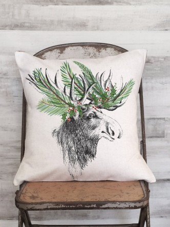 Holiday Moose Pillow